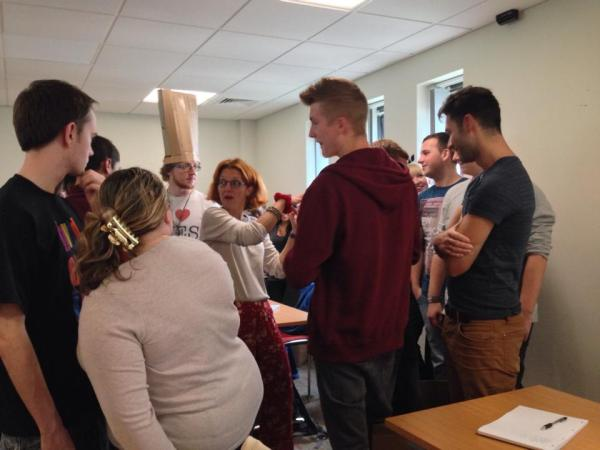 Dr Rita Klapper questioning the boxes the students put themselves in